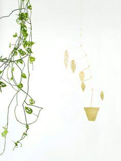 Brass plant mobiles by Natalie Joy