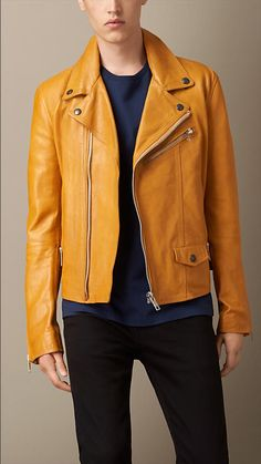 Vibrant Yellow Leather Biker Jacket - A biker jacket crafted in leather. With zip closure and topstitch panels, the jacket features classic biker detailing. Discover the men's outerwear collection at Burberry.com