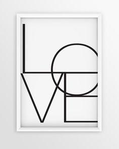LOVE Print Wall Art #TypographicArt #LovePrint #MinimalistArt