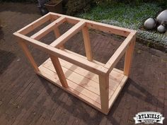 BBQ meubel | RTLNiels BBQ Wooden Crate Coffee Table, Coffee Table With Stools, Wood Sofa Table, Stylish Coffee Table, Coffee Table Images, Pallet Dining Table, Dining Table Legs, Bbq Stand, Grill Table