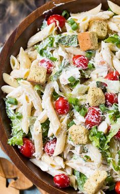 Chicken Caesar Pasta Salad with an easy and creamy homemade Caesar dressing. Great as a side dish or light summer meal.