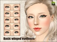 Basic winged eyeliner set by Gosik at The Sims Resource - Sims 3 Finds