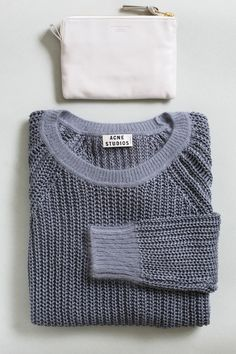 acne linen knit and leather pouch