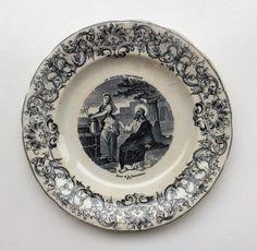 musta-valkoinen antiikki posliinilautanen . raamatullinen kuvitus . halkaisija 20cm . #kooPernu