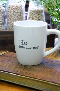 He fills my cup - large latte mug