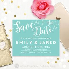 Printable Save the Date Card - light blue, teal, turquoise - ANY Сolor Сalligraphy Wedding Save the Blue Save The Dates, Rustic Save The Dates, Save The Date Postcards, Save The Date Cards, Tiffany Blue Bridesmaids, Postcard Template, Celebrity Weddings, Colorful Backgrounds, Light Blue