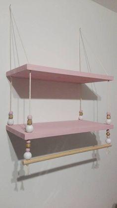 Double wall shelf with closet bar Diy Hanging Shelves, Hanging Bar, Wooden Shelves, Wall Shelves, Baby Room Decor, Bedroom Decor, Closet Bar, Little Girl Rooms, Kids Bedroom