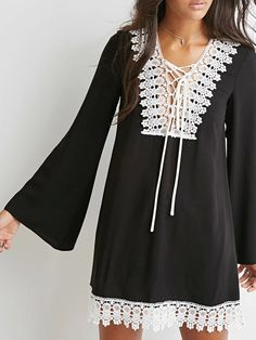 Black Contrast Crochet Trim Lace Up Front  Flare Sleeve Dress