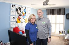 Founders of Sunshine on a Ranney Day, Holly and Pete enjoying Olie's room.  Donations to future projects can be given at http://www.sunshineonaranneyday.com/donate.html  #SOARD #Charity #kids #HelpingKids #event #nonprofit #therapy #longtermIlness #helpful #community #peace #relax #work #pig #home #decor #design #muralist #artist #walls #bedroom #kidsroom #cabinets #bathroom #handicap #moments