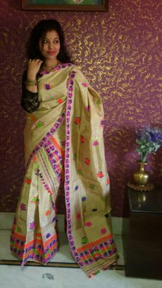 Pure Muga (Assam Silk)mekhela chador ..(two pieces saree with blouse).with colourful rose motif.. to buy see www.meghalisilk.com.. Assam Silk Saree, Silk Sarees, Indian Style, Indian Wear, Mekhela Chador, Indian Costumes, Saree Blouse Patterns, Paper Fashion, Indian Designer Wear