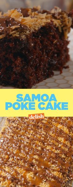 Samoa Poke Cake will hold you over until next Girl Scout cookie season. Get the recipe on Delish.com.