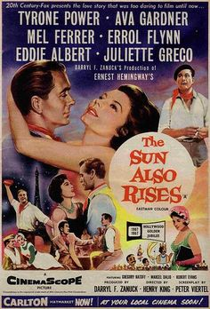 Directed by Henry King. With Tyrone Power, Ava Gardner, Errol Flynn, Mel Ferrer. A group of disillusioned American expatriate writers live a dissolute, hedonistic lifestyle in France and Spain. Old Movie Posters, Classic Movie Posters, Cinema Posters, Film Posters, Classic Movies, Tyrone Power, Old Movies, Vintage Movies, Assassin