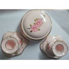 Adderley Bone China 3 Piece Set, Trinket Dish and Candle Holders £16