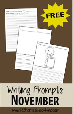 Writing Prompts - FREE November Writing Prompts for Kids from Kindergarten, grade, grade, grade, and grade with lots of different topics and using 2 different styles of lines Kindergarten Writing Prompts, Writing Prompts For Kids, Kids Writing, Writing Practice, Teaching Writing, Writing Activities, In Kindergarten, Writing Lists, Educational Activities
