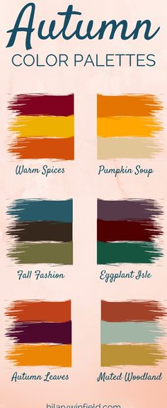 These six autumn color palettes are the perfect inspiration for seasonal home decor, brand colors, or fall-inspired artwork! These six autumn color palettes are the perfect inspiration for seasonal home decor, brand colors, or fall-inspired artwork! Deep Autumn Color Palette, Colour Pallette, Colour Schemes, Color Combos, Autumn Colours, Best Color Combinations, Autumn Wedding Colors, Autumn Inspiration, Color Inspiration