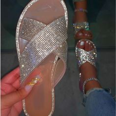 Bling Sandals, Bling Shoes, Fancy Shoes, Cute Sandals, Me Too Shoes, Summer Sandals, Cute Slides, Jelly Slides, Cute Nike Shoes