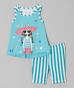 Another great find on #zulily! Turquoise Girl Tank & Stripe Shorts - Infant & Toddler #zulilyfinds