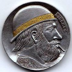 CHRIS DeCAMILLIS - GOLD SCROLL DERBY* - 1913 BUFFALO PROFILE Hobo Nickel, Derby, Buffalo, Classic Style, Coins, Carving, Profile, Christian, Personalized Items