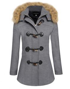 FASHION CAPPOTTO PARKA DONNA CON CAPPUCCIO, Detachable Faux Fur Hooded COAT