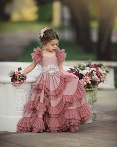 Kids outfits - Capped Sleeves Flower Girls Dresses For Weddings Tiered Kids Prom Gowns Lace Girls First Holy Communion Dress Kids Dress Wear, Kids Gown, Baby Dress, The Dress, Kids Wear, Kids Party Wear Dresses, Ruffle Dress, Gowns For Girls, Frocks For Girls