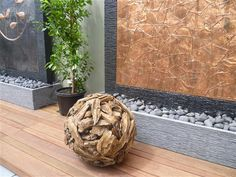 Small teak ball and copper wall Copper Wall, Garden Accessories, Water Features, Natural Stones, Teak, Wood, Crafts, Design, Water Sources