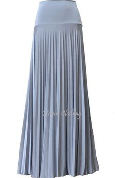 Silver Pearl Pleated Maxi Skirts