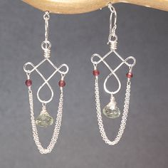 Garnet, green amethyst, and chain on hammered curled wire, about 1-3/4 long.   Available in 14k gold filled & sterling silver, 14k rose gold filled    **We now offer LAYAWAY**Please read our policy section for more info - http://www.etsy.com/shop/CalicoJunoJewelry/policy