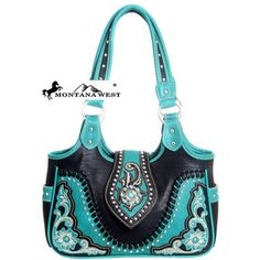 Western purse~Make a bold and beautiful statement with this Montana West® faux leather shoulder bag featuring a gorgeously detailed front panel. The front features a stunning floral embroidery details on each corner with studded accents.  Flower patterned Montana West® interior with large center divider and back wall zip closure pocket has room for all your needed items.