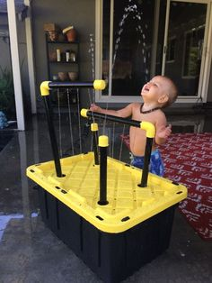Water table: Put sprinklers on one side so can add an upper reservoir for pouring activities and make all sprinklers modular Backyard Water Parks, Ponds Backyard, Backyard For Kids, Diy For Kids, Backyard Waterfalls, Garden Ponds, Koi Ponds, Backyard Games, Water Table Diy