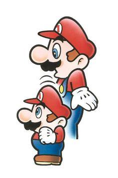 Mario coming out of a smaller Mario from the official artwork set for #SuperMarioBros2 on the #NES. #SuperMario #SuperMarioBros #Retrogames. Visit for more info http://www.superluigibros.com/super-mario-bros-2-nes
