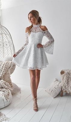 A-Line High Neck Bell Sleeves Cold Shoulder Above-Knee White Homecoming Dress ad. fashion bell sleeves homecoming dress, elegant white lace homecoming dress, chic A-line short party dress, modern cold shoulder summer dress White Homecoming Dresses, Grad Dresses, Wedding Dresses, Prom Dress, Homecoming Outfits, Lounge Dresses, Prom Gowns, Evening Dresses, Bridesmaid Dresses