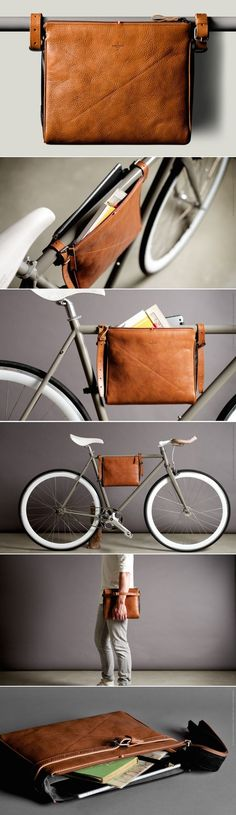 leather bag for bicycle Bicycle Accessories, Leather Accessories, Pimp Your Bike, Bike Bag, Leather Projects, Leather Design, Beautiful Bags, Leather Working, Leather Craft