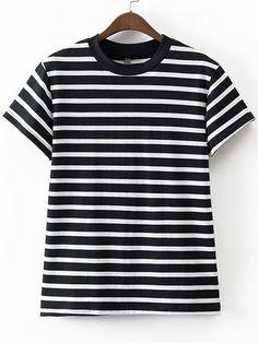 Black And White Crew Neck Stripe T-shirt.
