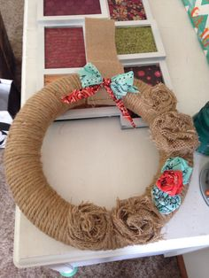 My home made wreath:) making fabric flowers is super easy.