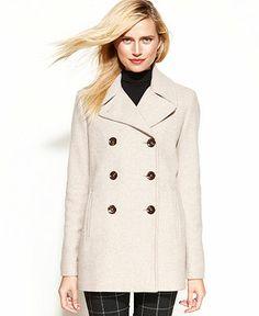 Calvin Klein Coat, Wool-Cashmere-Blend Pea Coat - Coats - Women - Macy's
