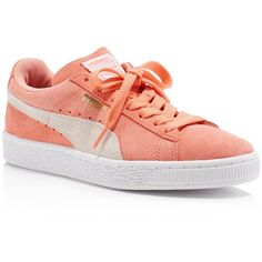 Puma Women's Classic Lace Up Sneakers (87 CAD) ❤ liked on Polyvore featuring shoes, sneakers, pink, laced sneakers, suede shoes, puma trainers, pink sneakers and pink suede shoes