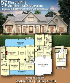 Architectural Designs Modern Farmhouse Plan gives you bedrooms, baths and sq. Ready when you are! Where do YOU want to build? Architectural Designs Modern Farmhouse Plan gives you bedrooms, baths and sq. Ready when you are! Where do YOU wa Family House Plans, Country House Plans, New House Plans, Dream House Plans, 6 Bedroom House Plans, Dream House Design, Brick Ranch House Plans, 2200 Sq Ft House Plans, Ranch Style Floor Plans