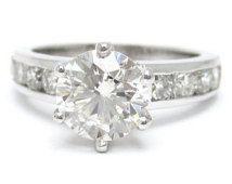 1.71ctw round cut CHANNEL set diamond engagement ring 14k white gold