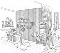 Dessin chambre petite fille | INTERIOR PERSPECTIVE DRAWINGS ...