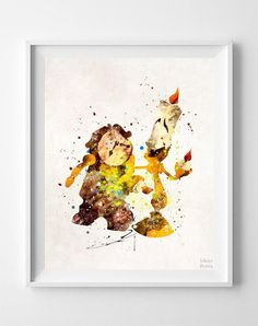Cogsworth and Lumiere Print, Beauty and the Beast, Watercolor Art, Disney… #watercolorarts