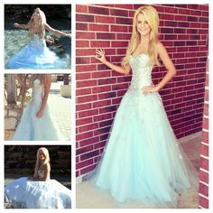 Light blue prom dress, this is beautiful but I'm not loving the hair Pretty Prom Dresses, Prom Dresses Blue, Dance Dresses, Ball Dresses, Homecoming Dresses, Cute Dresses, Beautiful Dresses, Ball Gowns, Formal Dresses