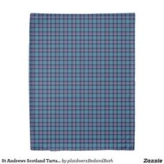 St Andrews Scotland Tartan Blue Plaid Duvet Cover