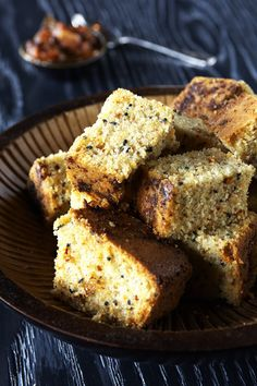 Simple spiced cornbread: I love this spiced cornbread on the side of my dinner. Serve with Parsley Root Soup or Black Eyed Peas. I love to toast a slice of leftover cornbread for breakfast.  Topped with a pat of butter and a spoonful of jam, it's a great way to start the day. This recipe has cinnamon, chilies and cardamom which really take this recipe to a new level.