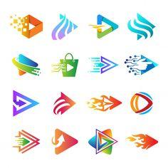Play app logo collection, set of play bu...   Premium Vector #Freepik #vector #logo #banner #poster #business