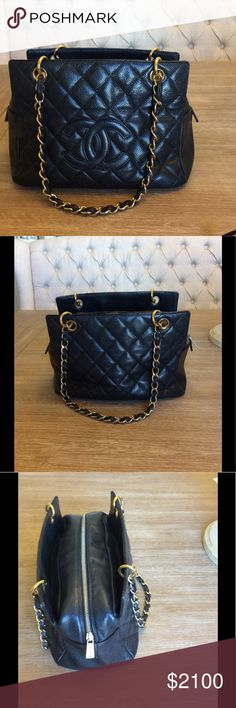 Chanel Petite Timeless Tote Authentic  Chanel Petite Timeless Tote Handbag in Black Caviar Leather with gold hardware. Beautiful and functional with two exterior slit pockets, one interior zippered pocket, and one interior slit pocket. A true Chanel beauty  CHANEL Bags Shoulder Bags