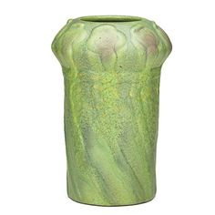 Van Briggle 1903 shape- Repeating Twisted Poppy Pods on Tall Shouldered Vase 7 w x 11 in.h matte lime-green w.darker accent glaze