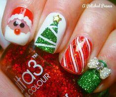 108 Christmas Beautiful Color and Wonderful DIY Nails Arts Design - Christmas Nails Nail Art Noel, Xmas Nail Art, Holiday Nail Art, Xmas Nails, Christmas Nail Art Designs, Nail Art Diy, Diy Nails, Christmas Nails, Cute Nails