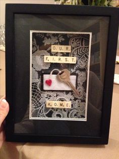 Our first home' with a key from the first house bought/lived in First Home Key, First Home Gifts, Cadre Diy, Scrabble Art, Housewarming Party, Housewarming Gift Ideas First Home, House Keys, First Apartment, First Time Home Buyers