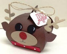 Rudolph the Red-Nosed Reindeer made with Curvy Keepsake Box Thinlits Die from Stampin' Up!