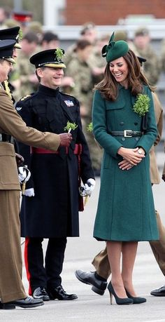 Irish Guards' St. Patrick's Day Parade held at Mons Barracks, Aldershot, Hampshire. The Duchess of Cambridge, accompanied by Prince William, The Duke of Cambridge, will make the presentation of Shamrock to soldiers and the mascot, Domhnall.